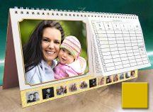Asztali naptár - aranysárga színű képkeret