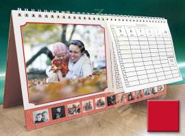 Asztali naptár - piros színű képkeret