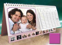 Asztali naptár - rózsaszín színű képkeret