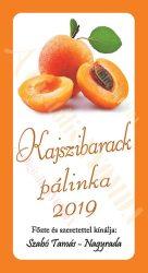 Pálinka címke - Kajszibarack