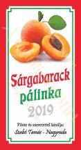 Pálinka címke - Sárgabarack